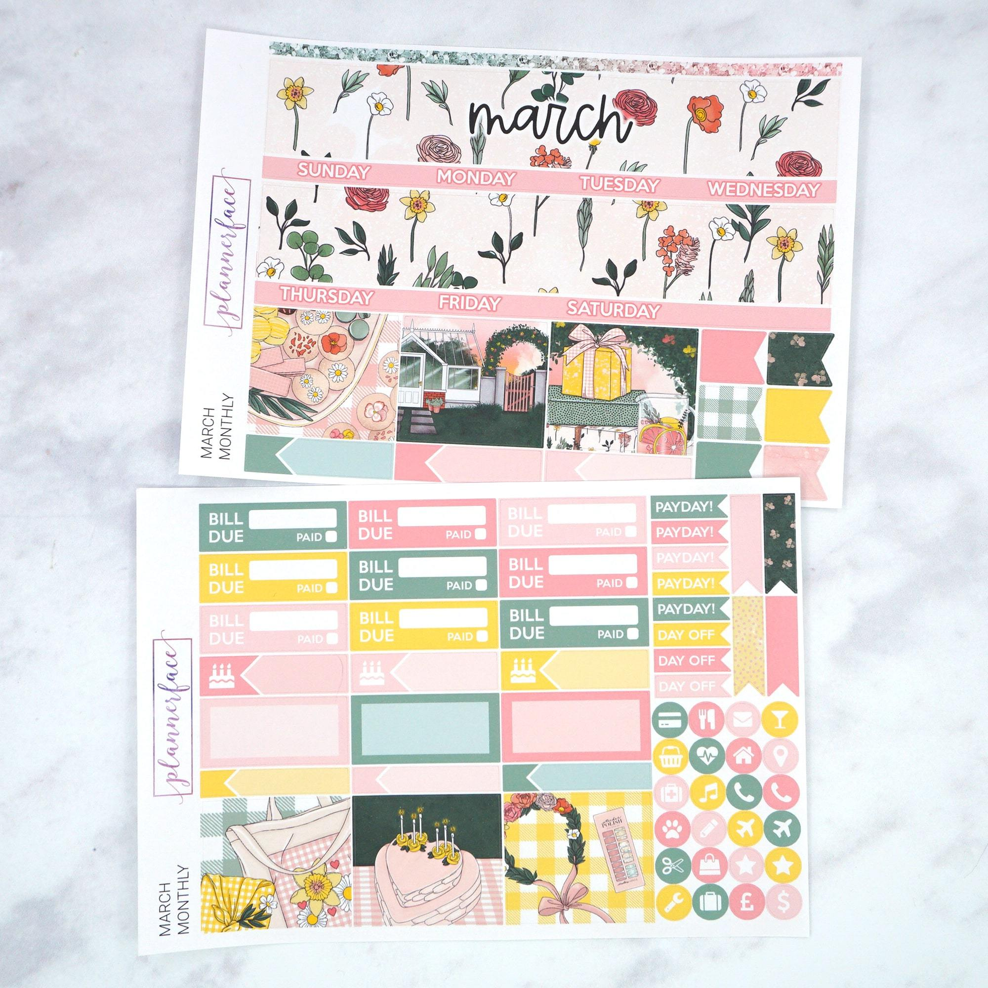 Plannerface March Monthly Kit Planner Stickers