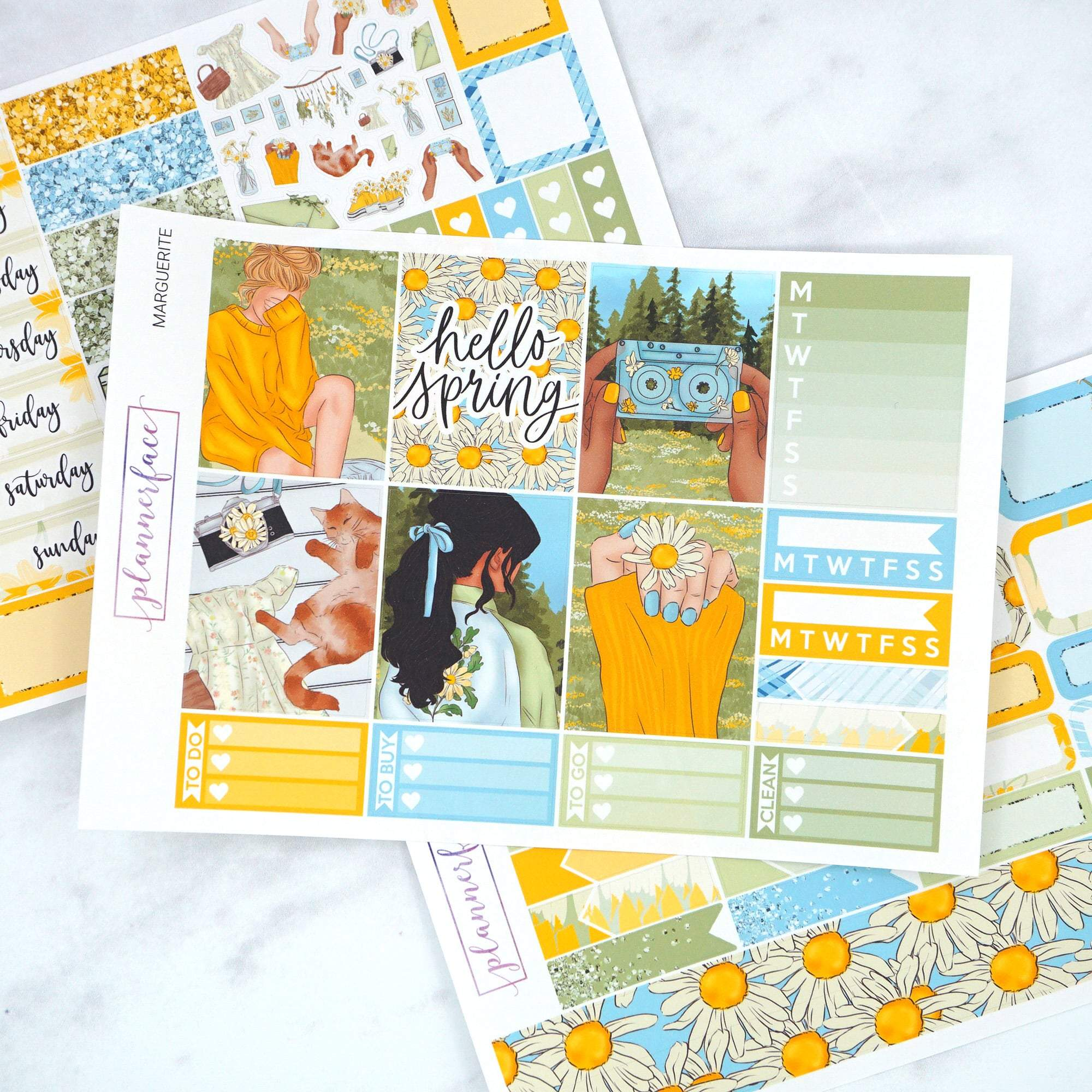Plannerface Marguerite Mini Kit Planner Stickers