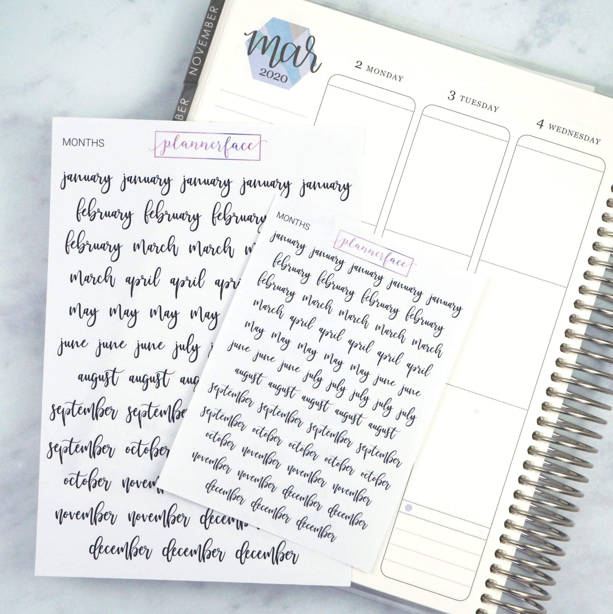 Plannerface Mini Months of the Year | Lettering Planner Stickers
