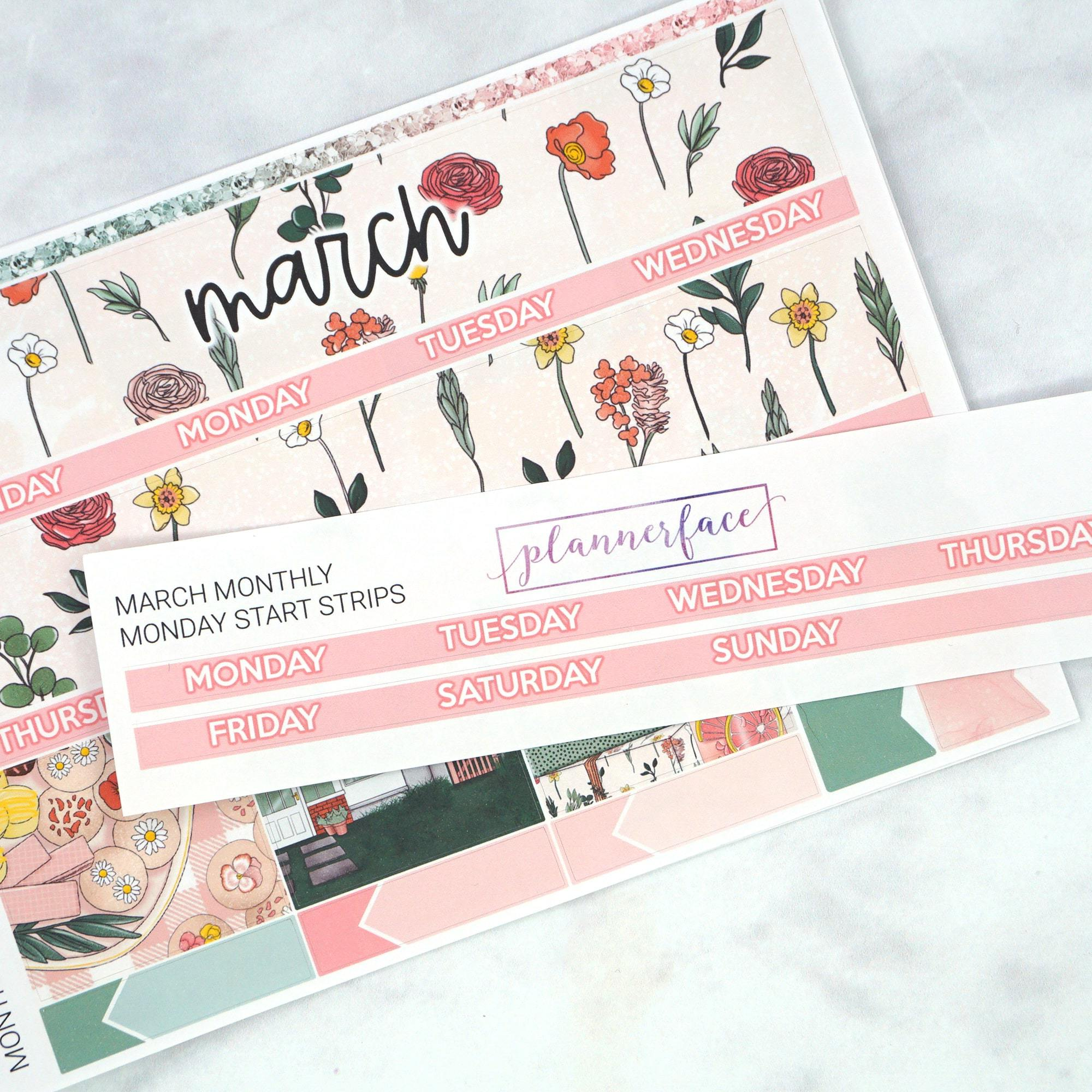 Plannerface Monday Start Add-on Strip | March Planner Stickers