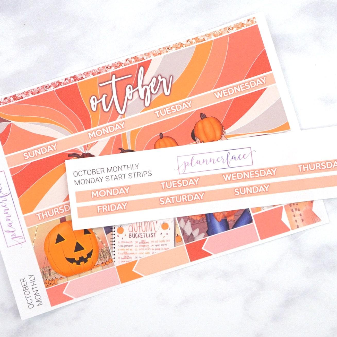 Plannerface Monday Start Add-on Strip | October Planner Stickers