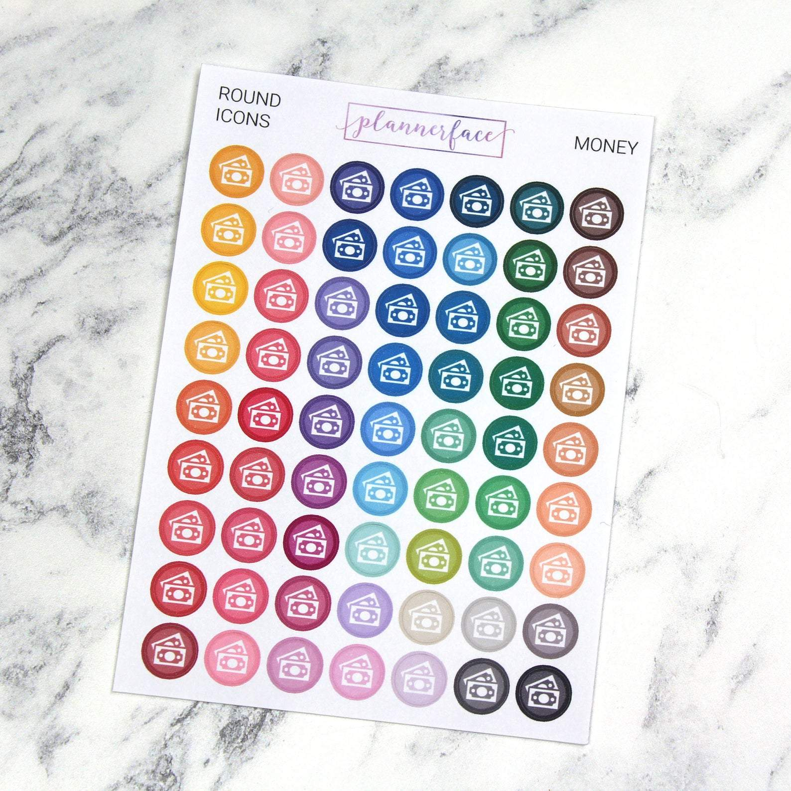 Plannerface Money | Round Multicolour Icons Planner Stickers