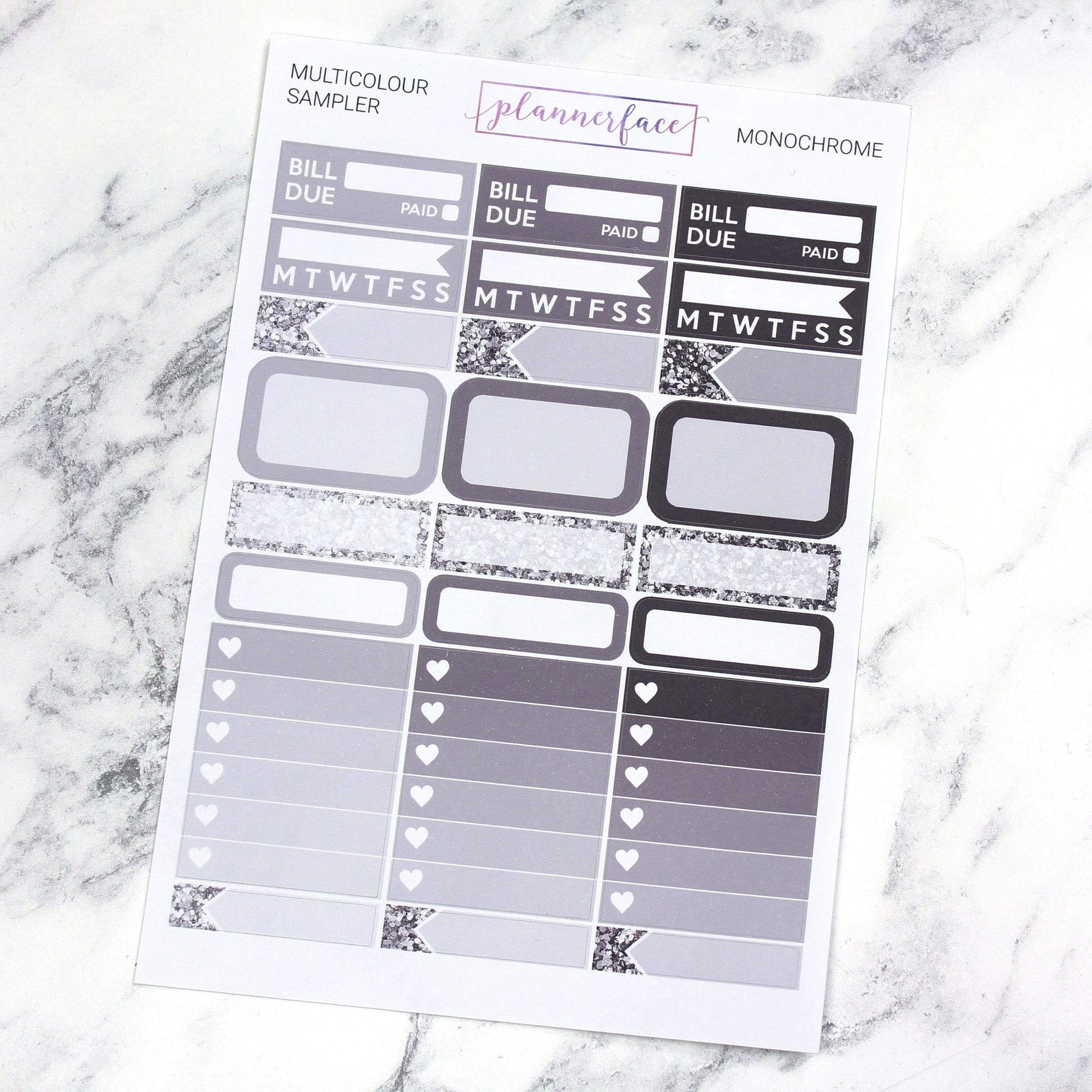 Plannerface Monochrome Multicolour Sampler Planner Stickers