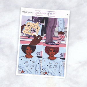 Plannerface Movie Night Fashion Girl Add-on Boxes Planner Stickers