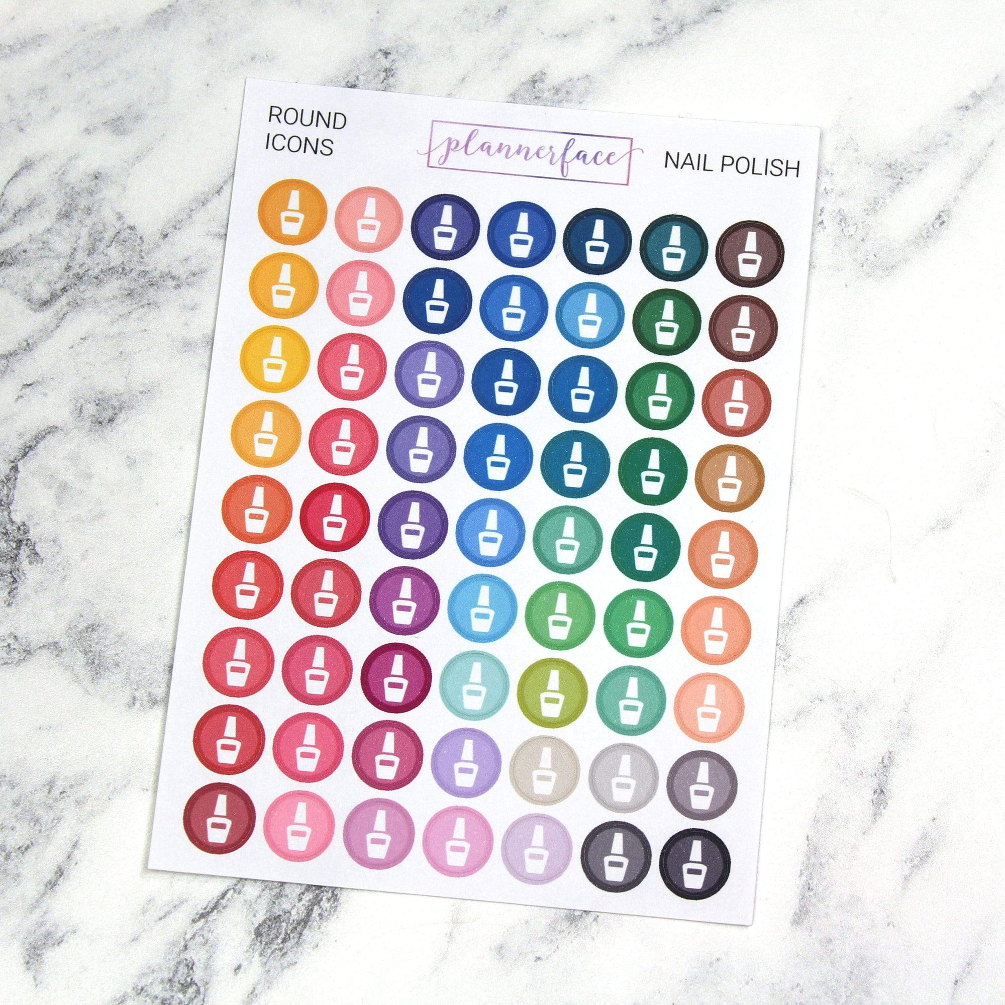 Plannerface Nail Polish | Round Multicolour Icons Planner Stickers