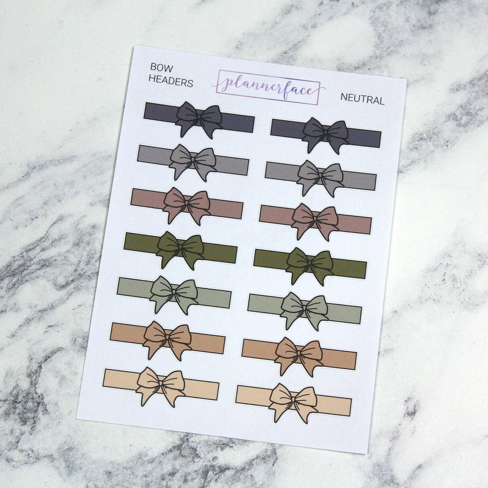 Plannerface Neutral Bow Headers Planner Stickers