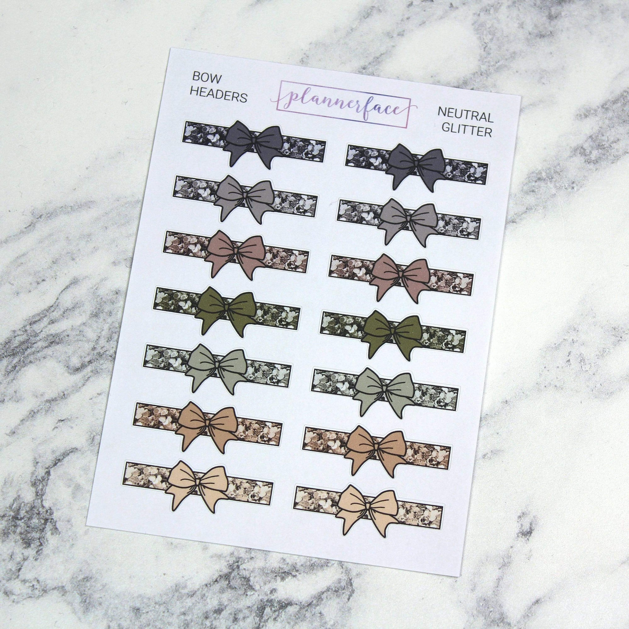 Plannerface Neutral Glitter Bow Headers Planner Stickers