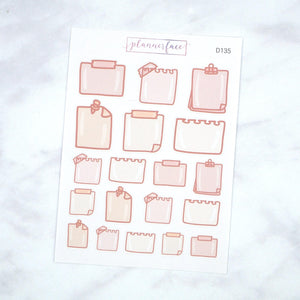 Plannerface Note Paper V2 Doodles Planner Stickers