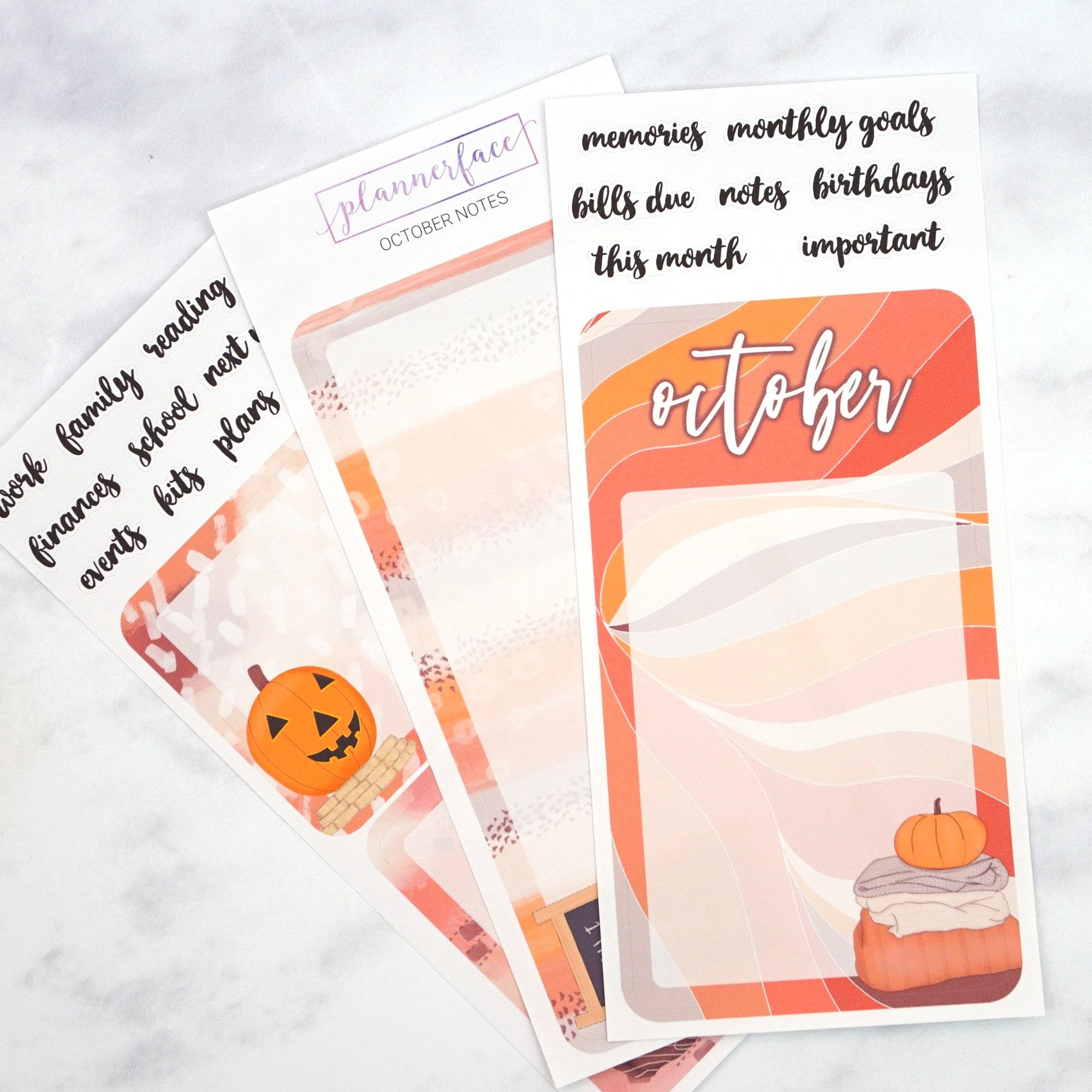 Plannerface October Notes Page Planner Stickers