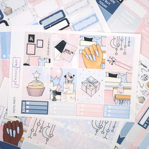 Plannerface Pastel Party Weekly Kit Planner Stickers