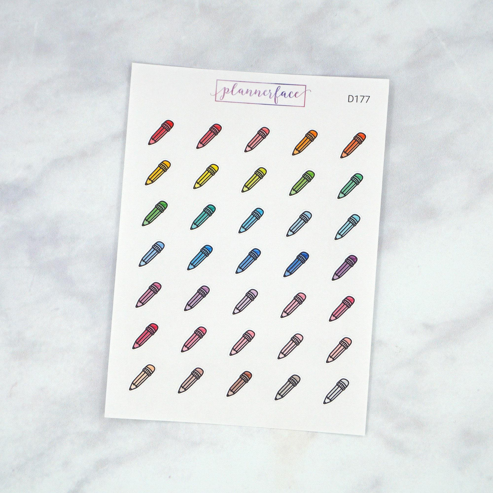 Plannerface Pencil Multicolour Doodles Planner Stickers