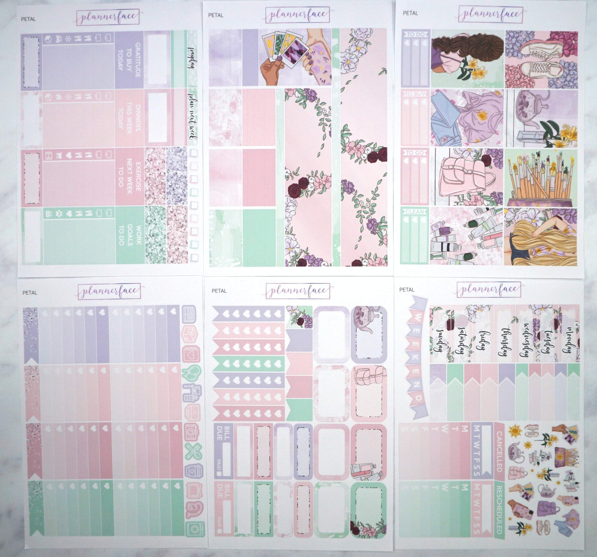 Plannerface Petal Weekly Kit Planner Stickers
