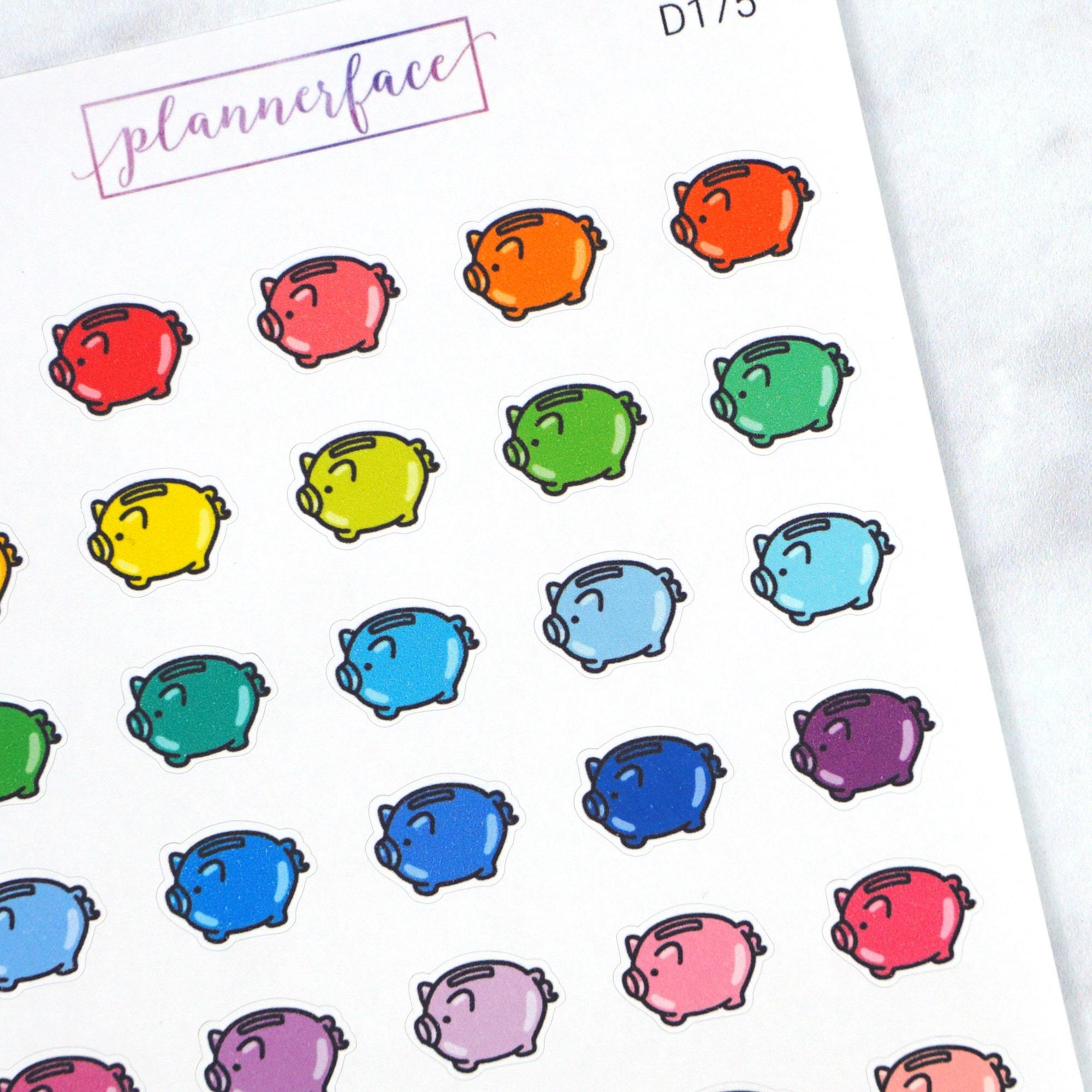 Plannerface Piggy Bank Multicolour Doodles Planner Stickers