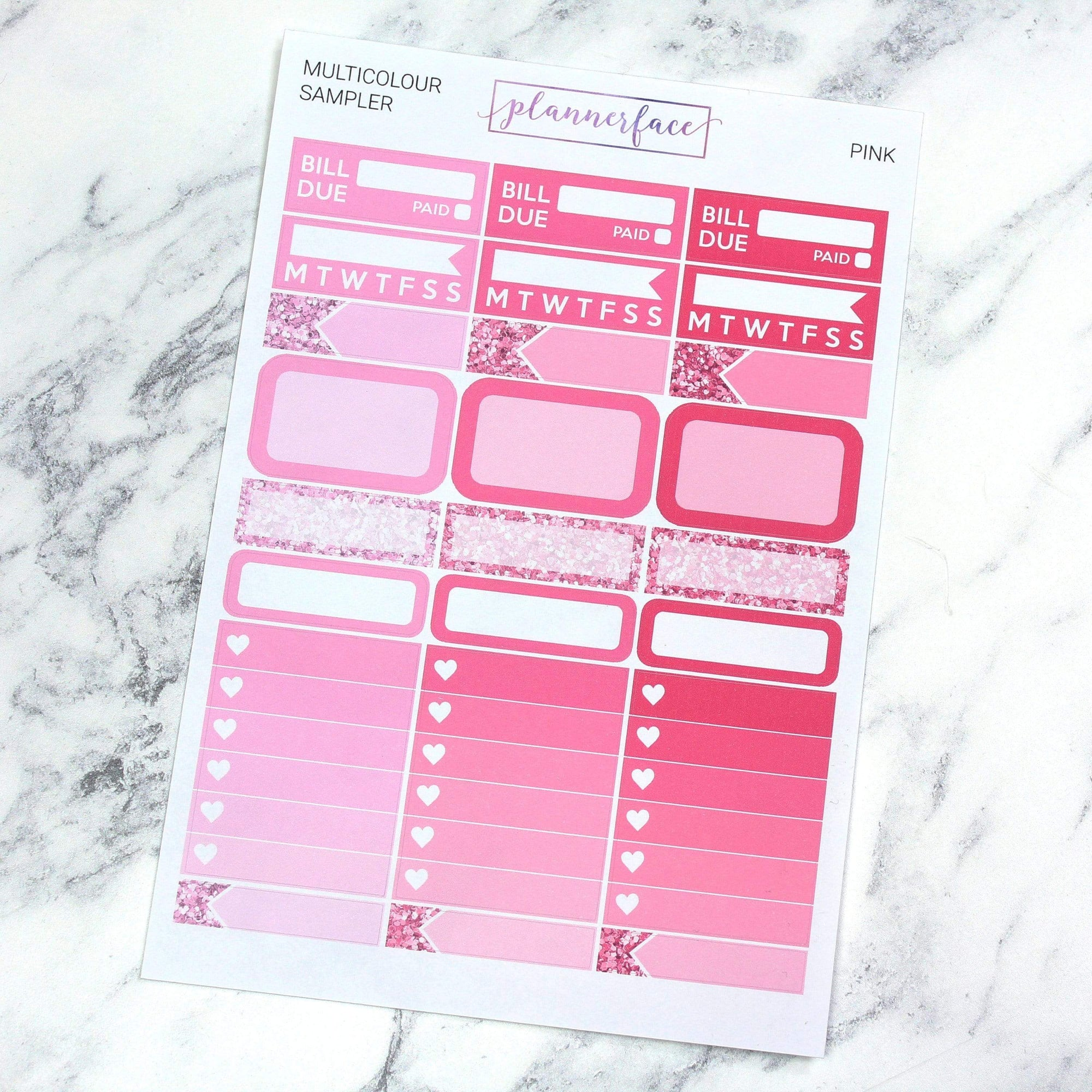 Plannerface Pink Multicolour Sampler Planner Stickers