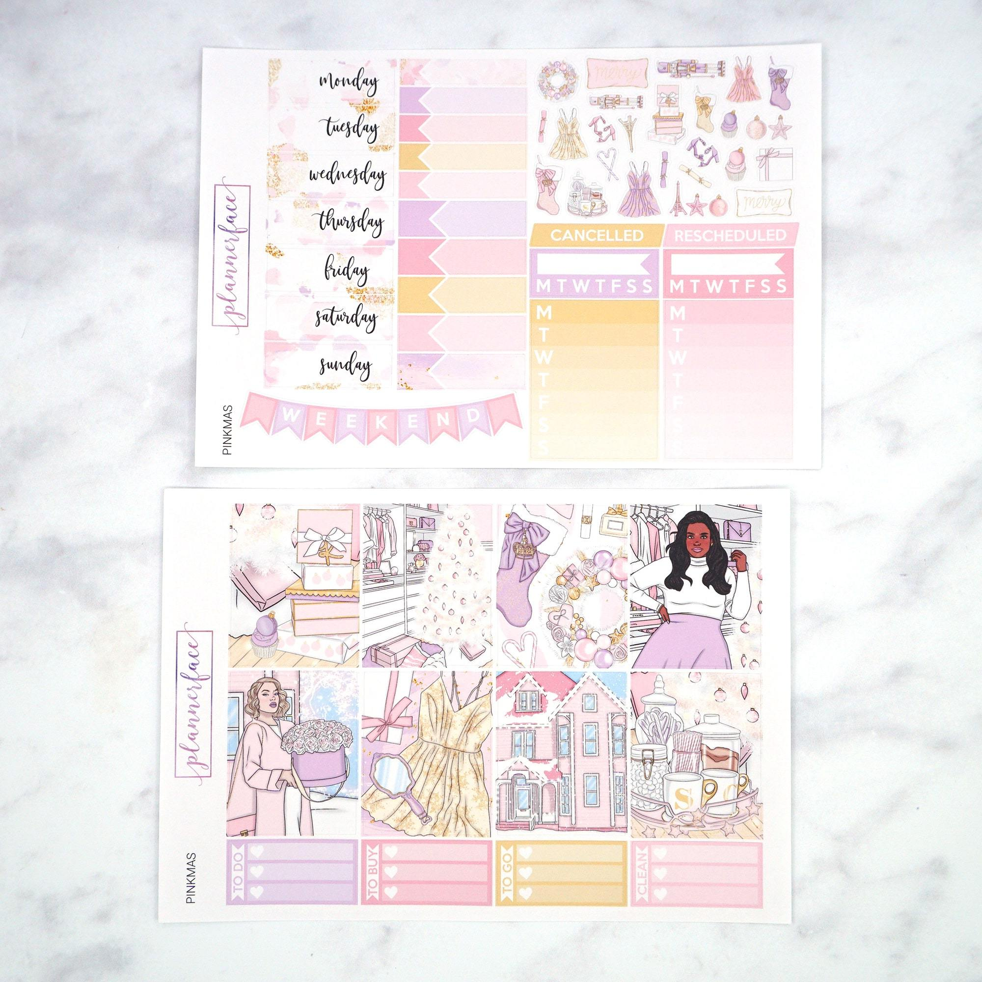 Plannerface Pinkmas Weekly Kit Planner Stickers
