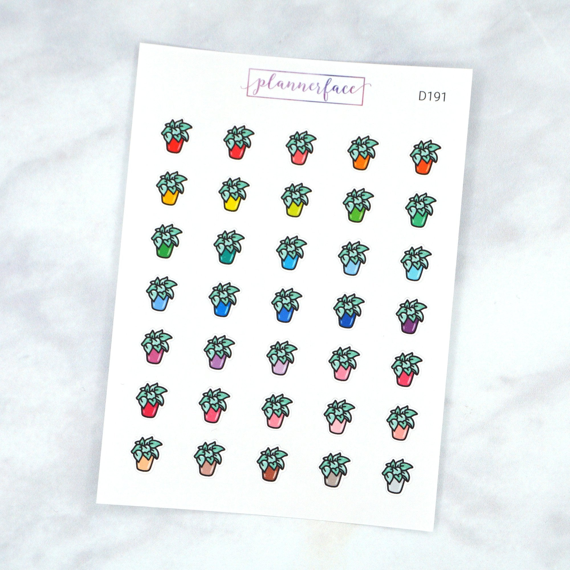 Plannerface Plant Multicolour Doodles Planner Stickers