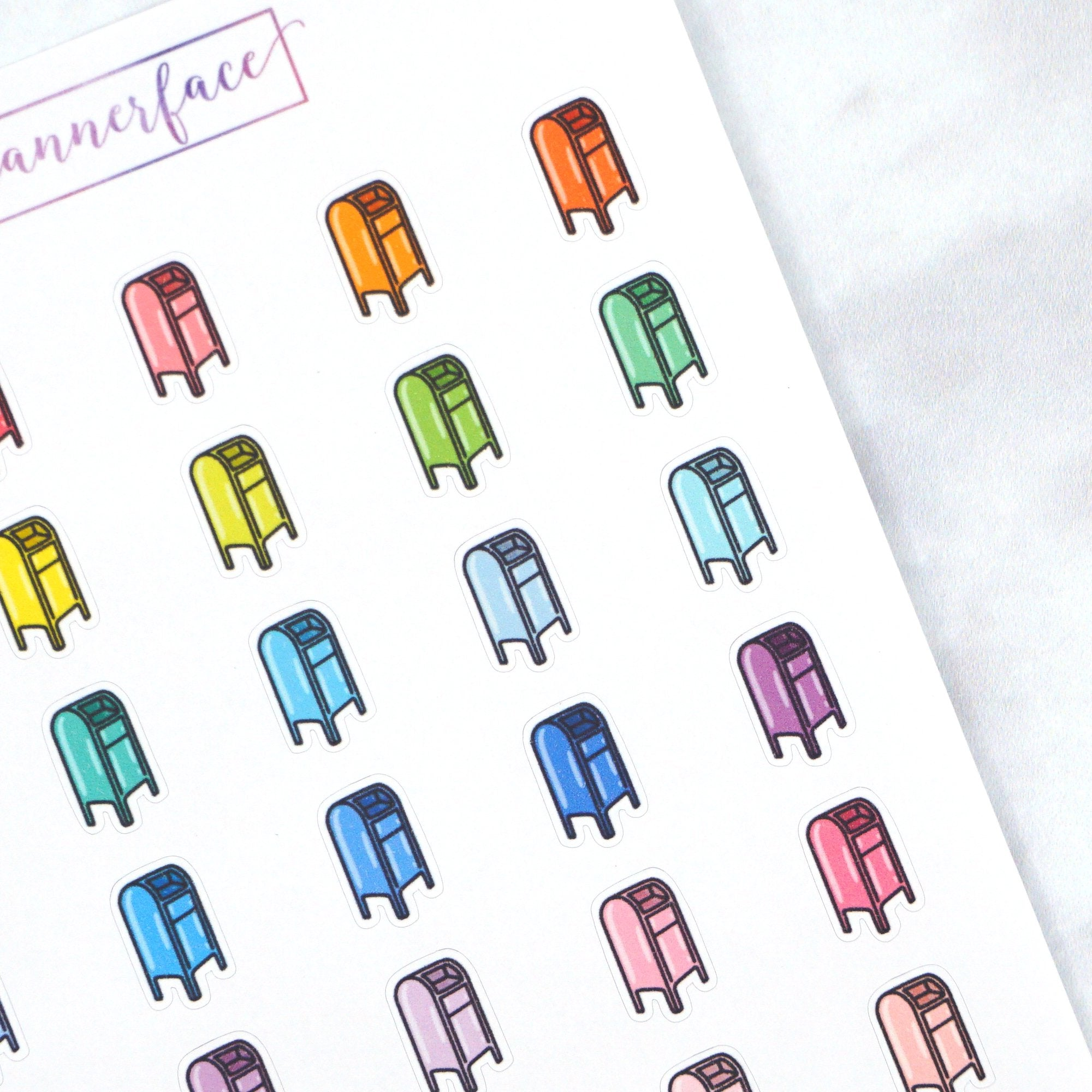 Plannerface Post Box Multicolour Doodles Planner Stickers