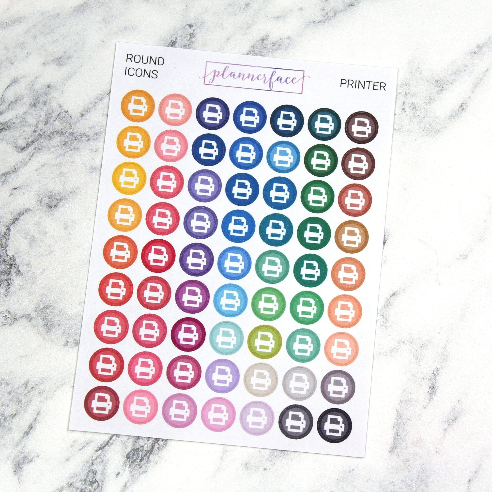 Plannerface Printer | Round Multicolour Icons Planner Stickers