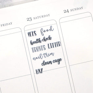 Plannerface Rabbit Care | Lettering Planner Stickers