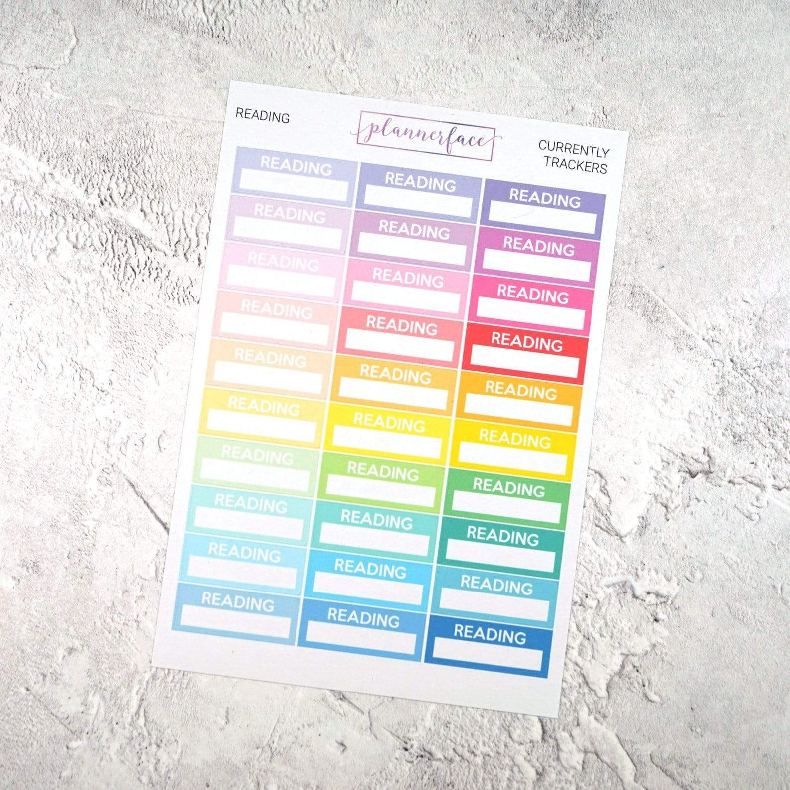 Plannerface Reading Currently Tracker | Multicolour Planner Stickers