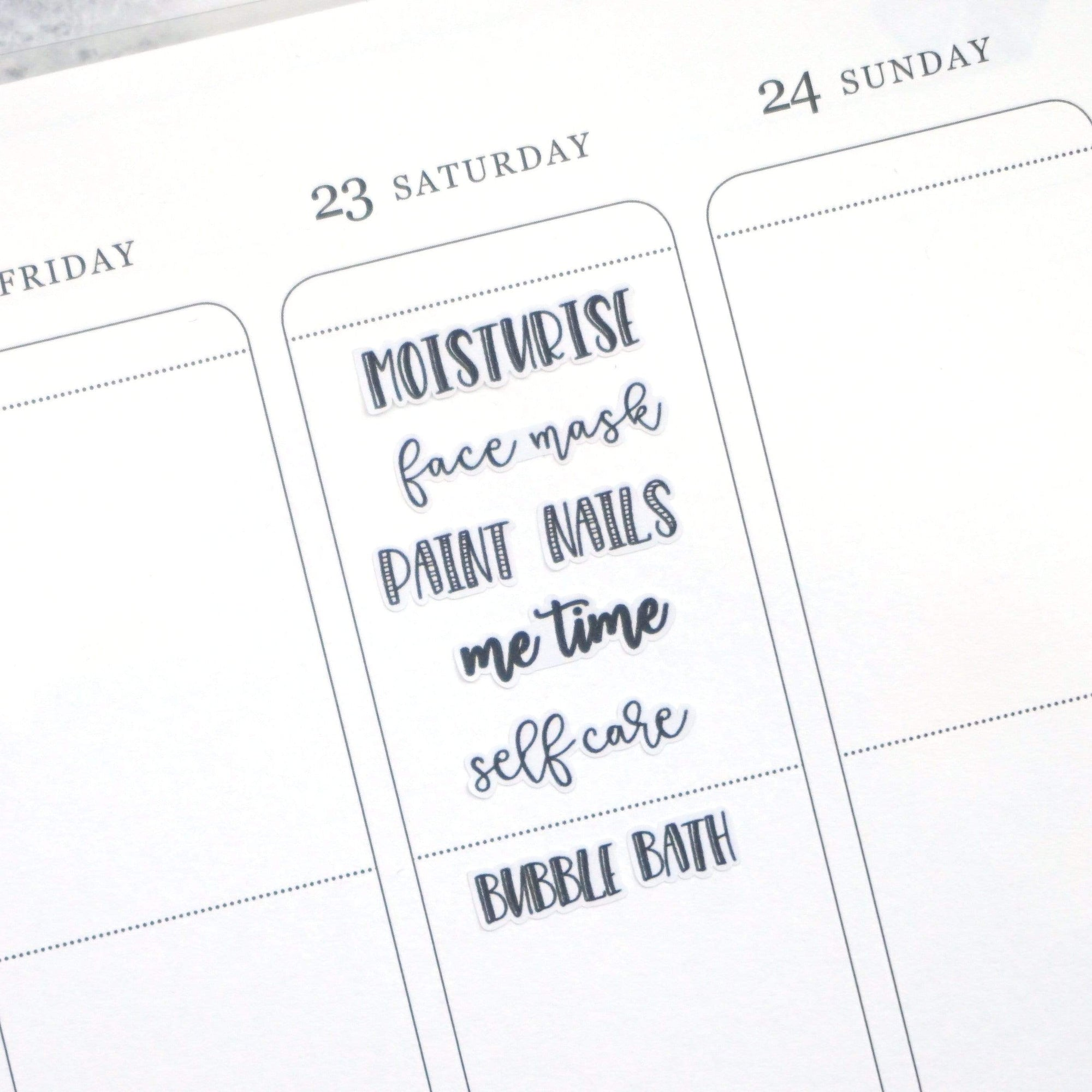 Plannerface Self Care | Lettering Planner Stickers