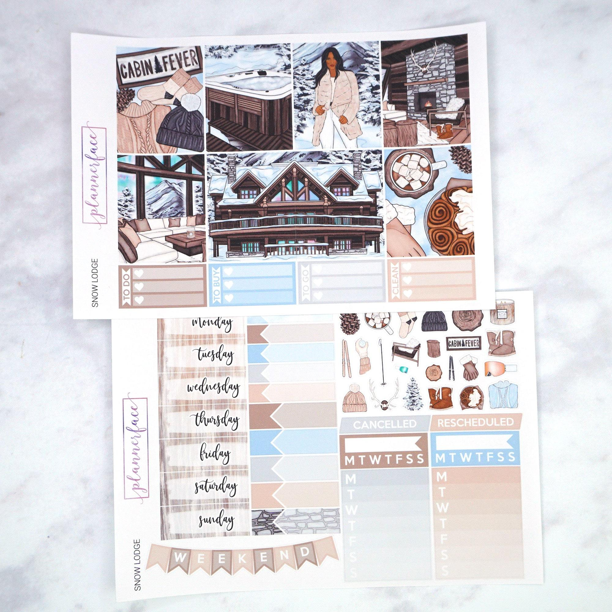 Plannerface Snow Lodge Weekly Kit Planner Stickers