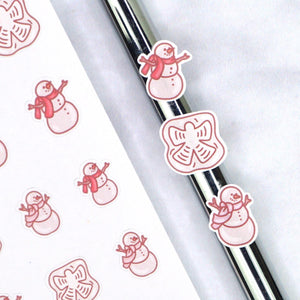 Plannerface Snowman & Snow Angel (Traditional) Doodles Planner Stickers