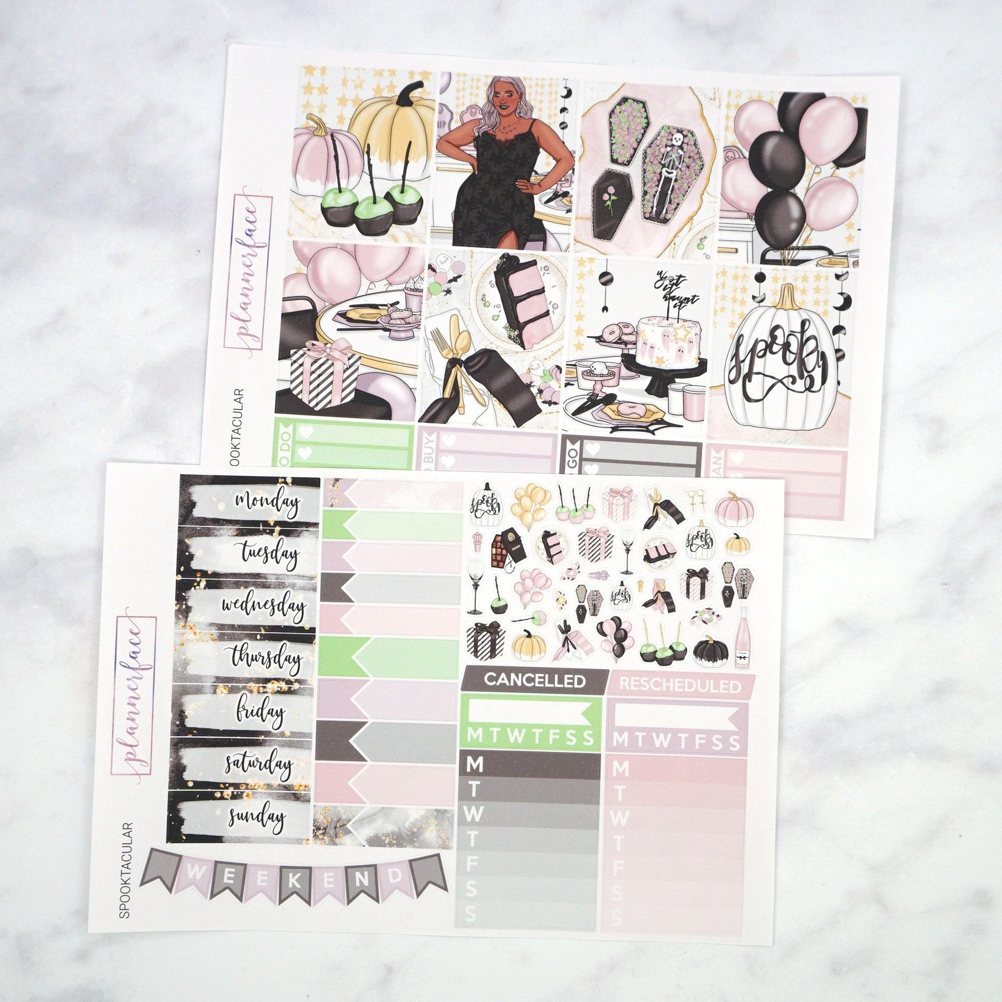 Plannerface Spooktacular Weekly Kit Planner Stickers