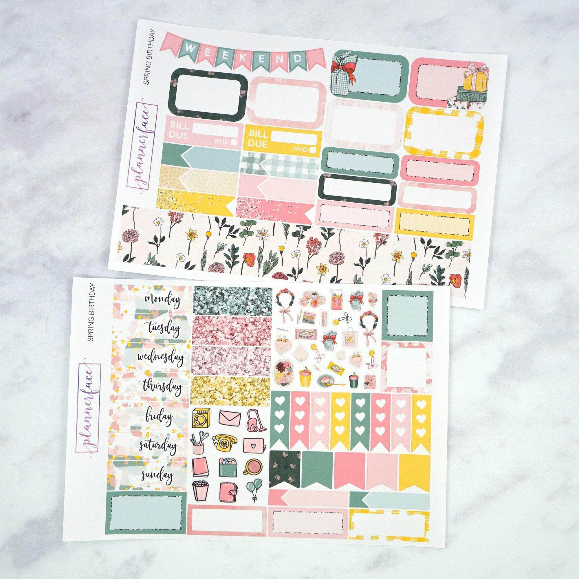 Plannerface Spring Birthday Mini Kit Planner Stickers