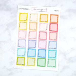 Plannerface Square Boxes | Spring Multicolour Planner Stickers