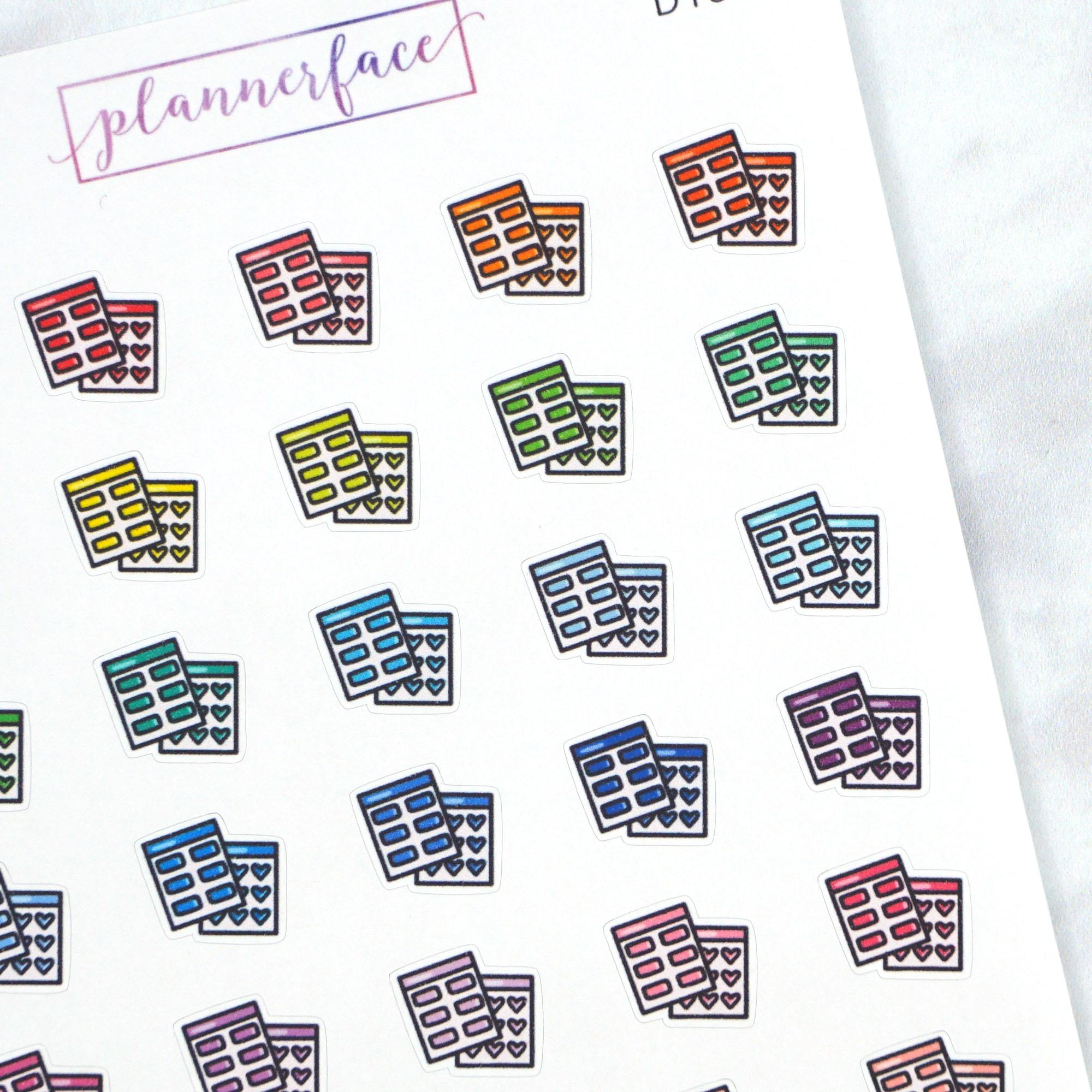 Plannerface Sticker Sheets Multicolour Doodles Planner Stickers