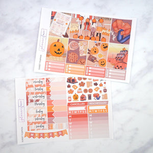 Plannerface Sunset Pumpkin Weekly Kit Planner Stickers