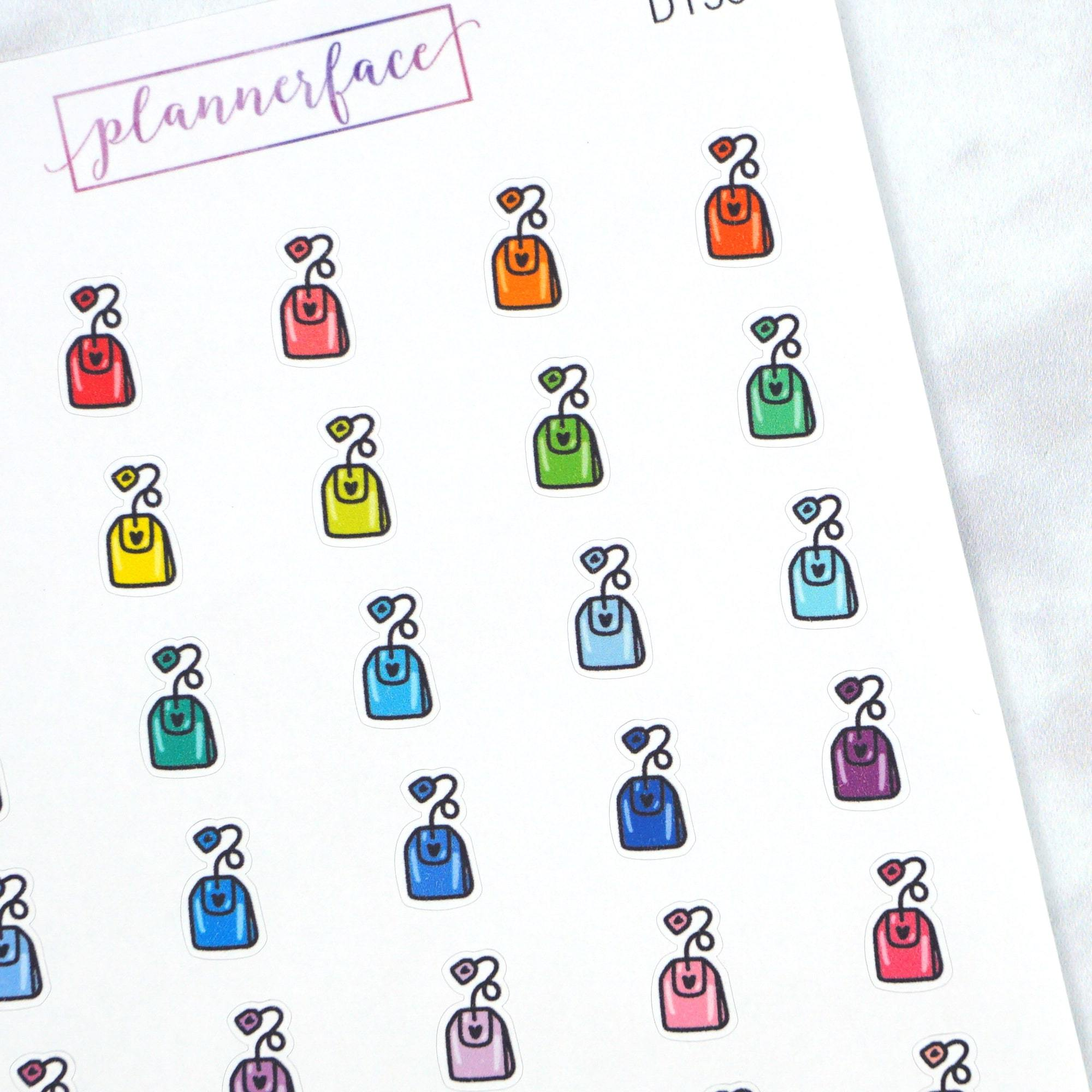 Plannerface Tea Bag Multicolour Doodles Planner Stickers
