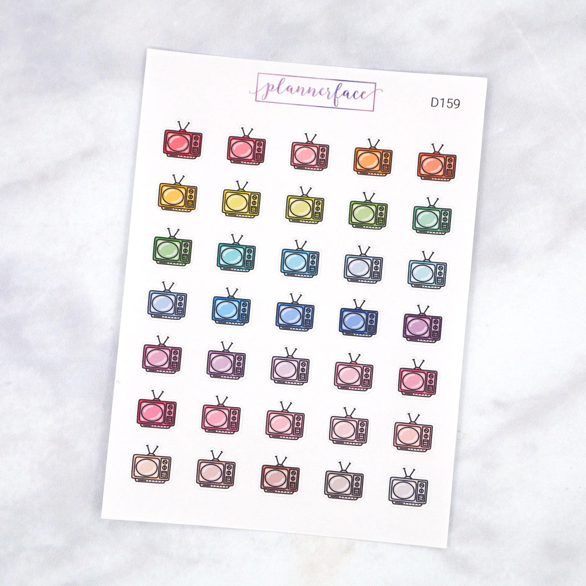Plannerface Television Multicolour Doodles Planner Stickers