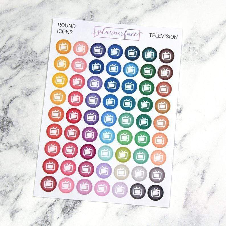 Plannerface Television | Round Multicolour Icons Planner Stickers