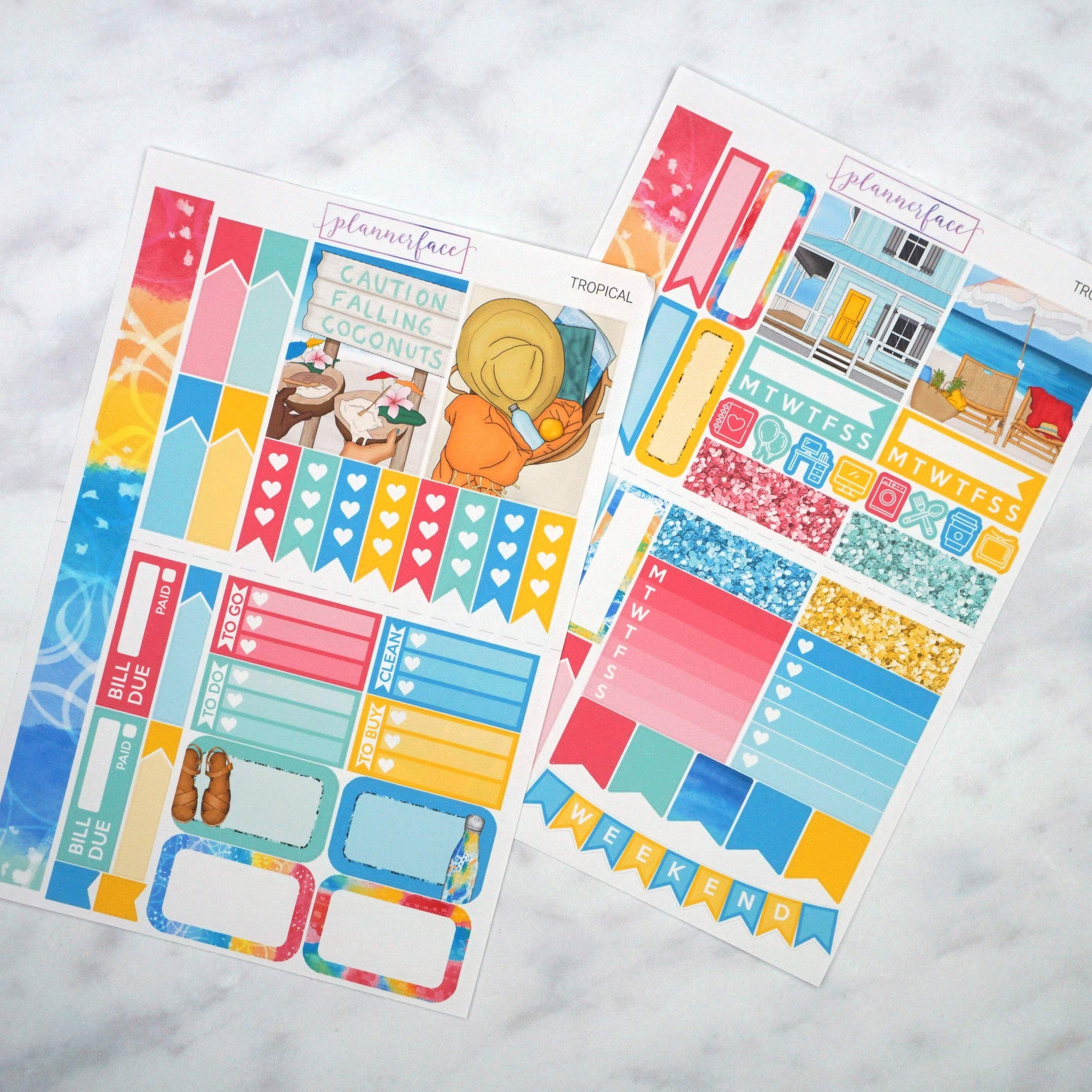 Plannerface Tropical Mini Kit Planner Stickers