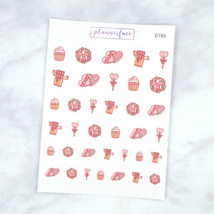 Plannerface Valentine's Treats Doodle Sampler Planner Stickers