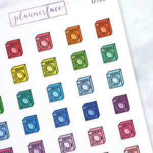 Plannerface Washing Machine Multicolour Doodles Planner Stickers