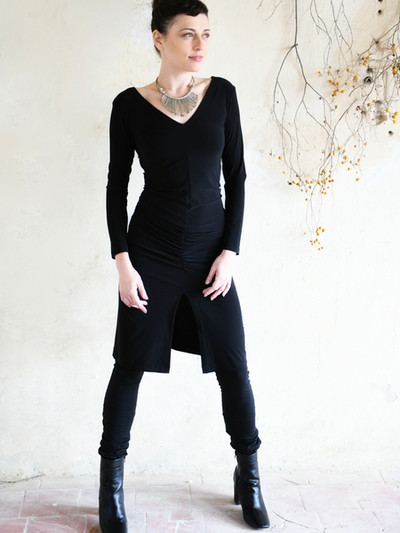 Long Sleeves Flattering Split Dress