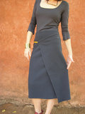 Gray Classic Wool Wrap Skirt
