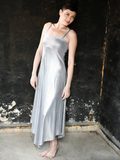 Triangular Flowing Metallic Evening Maxi Dress