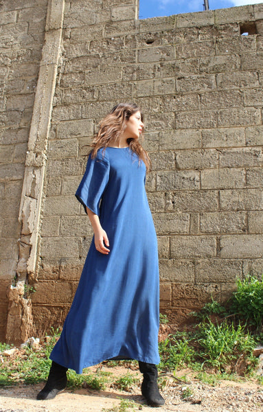 Oversize  Blue Denim Maxi Dress