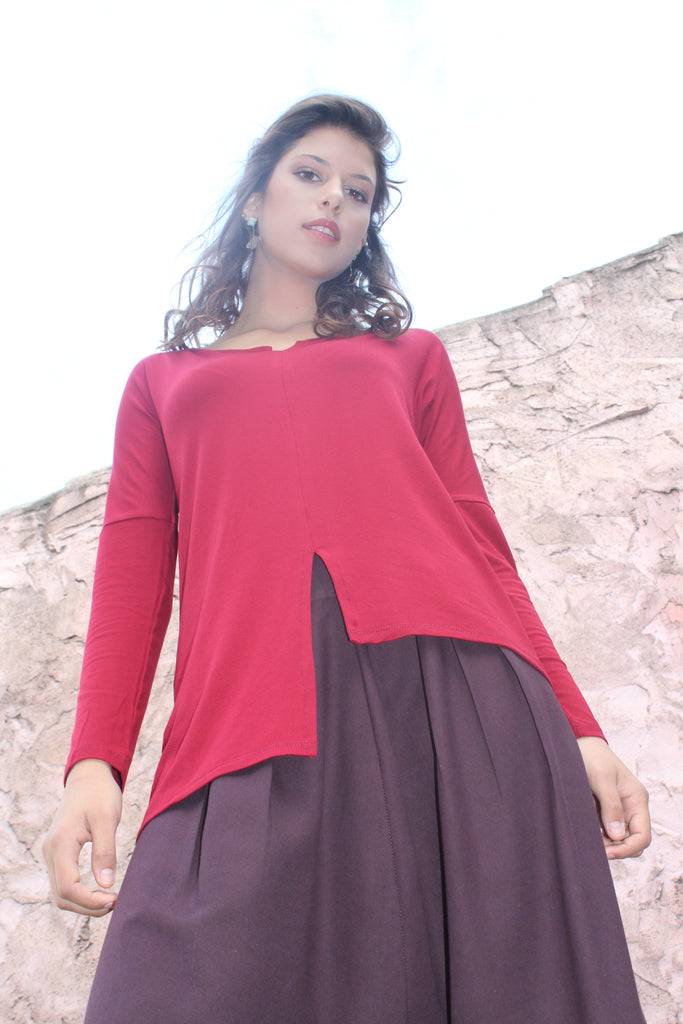 Asymmetric Hemline Tunic Top