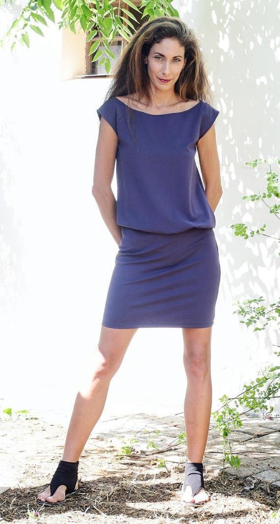 Purple blouson sleeveless dress
