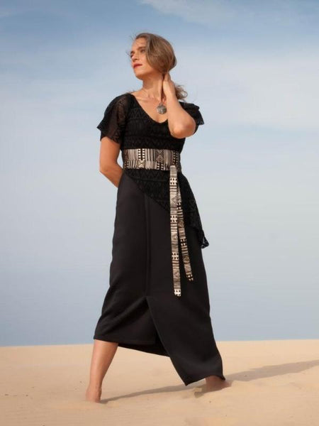 Black Angular Maxi Evening Dress