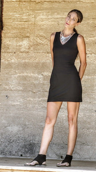 Black Mini Dress / Tunic with Built in Bra