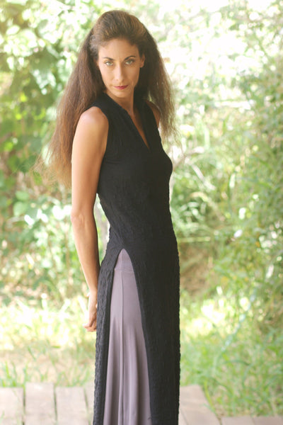 Textured Black Asian Maxi Sleeveless Dress