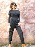 Gray Warm & Soft Viscose Knit Jumpsuit