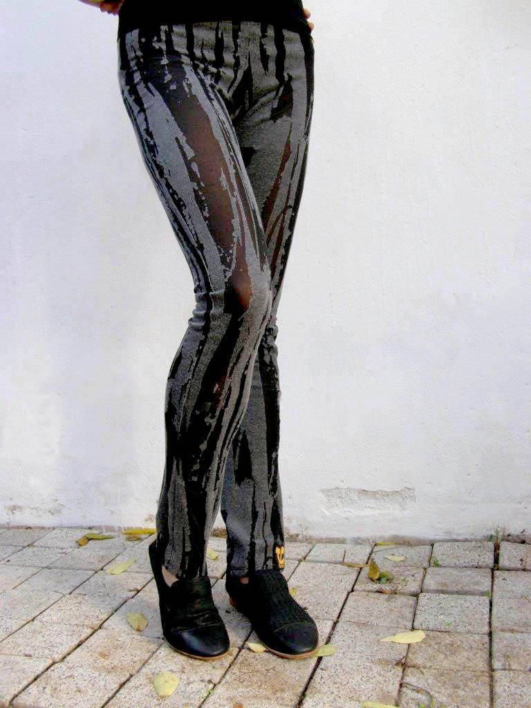 Black & Gray Sexy Patterned Leggings