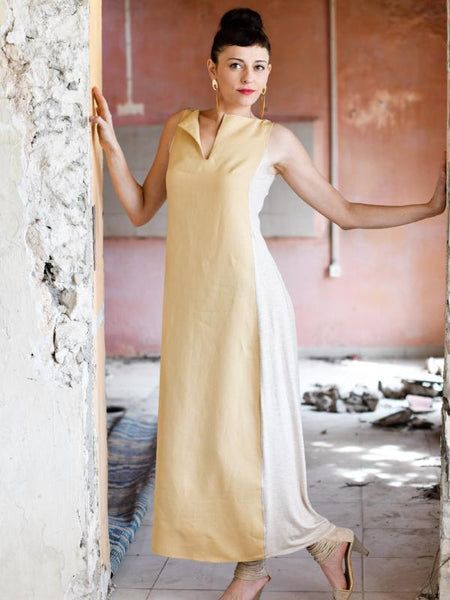 Sand Color Sleeveless Maxi Dress